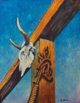 "Contemporary Western Painting, Architecture, ""Skull and Noose"" by Colorado Artist Nancee Jean Busses, Painter of the American West"