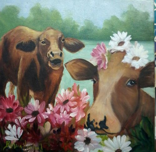 Why Don't You like the Flowers?, oil painting, Barbara Haviland-Texas Artist