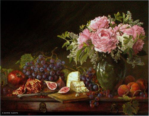 Classical still life oil painting custom pomegranates peonies figs bleu cheese peaches grapes rustic wood cutting board knife