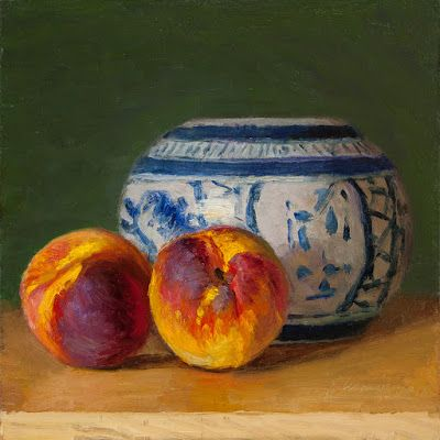 Peaches oriental ceramic pot a painting a day still life oil painting original