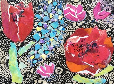 """Floral Art, Flower Painting,Textural Collage, Mixed Media """"PAPER GARDEN"""