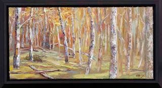 """Autumn Progression"" Palette Knife Aspen Tree Painting by Niki Gulley"