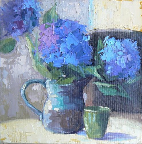 Hydrangea Floral Knife Painting, Daily Painting, Small Oil Painting