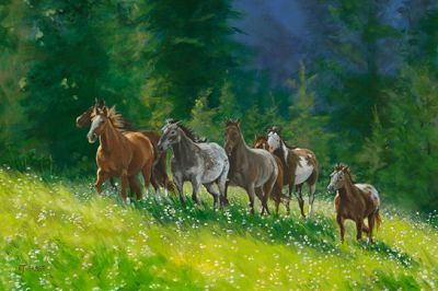 "Original Montana Landscape Painting, Horse Art ""Some Lead"" by Nancee Jean Busse, Painter of the American West"