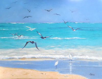 Beach Birds, 14x11 Seascape on Canvas Panel