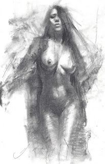 Standing female nude frontal view