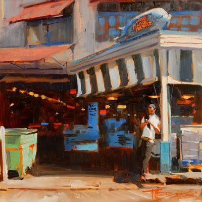 """Pike Place Pig"" Seattle city oil painting by Robin Weiss"