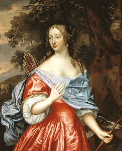 17C Allegory of Diana Goddess of the Hunt with faithful Dogs