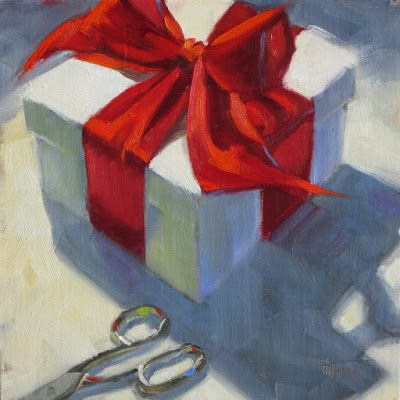 """What's in the Box?"" 8in x 8in Oil painting"