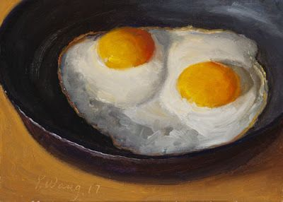 Fried egg still life daily painting food a painting a day