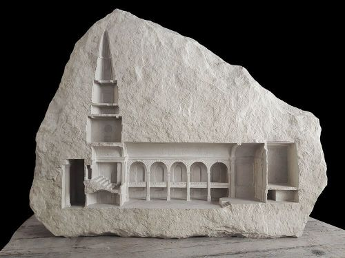 Miniature Architectural Interiors and Collections of Tiny Symbolic Objects Carved into White Stone