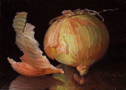 Daily painting a painting a day small original Y Wang Fine Art onion still life kitchen art