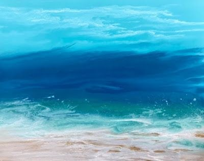 "Contemporary Abstract Seascape, Beach Painting, Coastal Decor Art ""Skillern's Sea"" by International Contemporary Artist Kimberly Conrad"