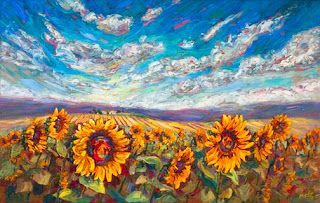 """New """"Sunny Greetings"""" Palette Knife Sunflower Painting by Contemporary Impressionist Niki Gulley"""