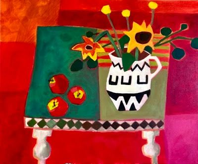 "Contemporary Abstract Bold Expressive Still Life Flower Art Painting ""My Table"" by Santa Fe Artist Annie O'Brien Gonzales"