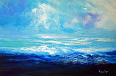 "Contemporary Abstract Seascape Painting ""Shape of Water"" by International Contemporary Seascape Artist Arrachme"