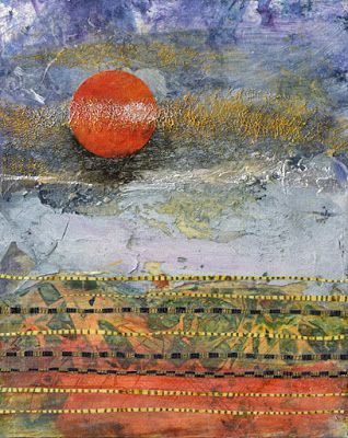"Sunset, Abstract Landscape Painting, Mixed Media, Contemporary Art For Sale, ""Saharan Sunset"" by Santa Fe Contemporary Artist Sandra Duran Wilson"