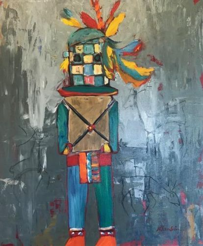 "Abstract Expressionist Figurative Fine Art Painting ""Ancestral Spirit"" by Oklahoma Artist Nancy Junkin"