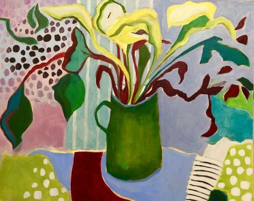 "Contemporary Expressionist Still Life Art,Bold Expressive Painting ""Green Lilies"" by Santa Fe Artist Annie O'Brien Gonzales"