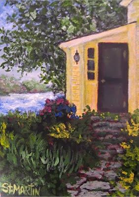 """Historic Fishing Village"" Original Historic Door, New England Fishing Village by Florida Impressionism Artist Annie St Martin"
