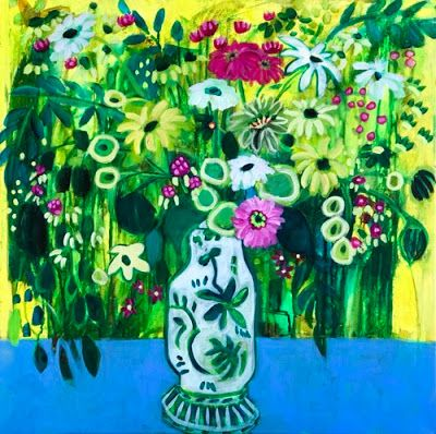 "Contemporary Expressionist Still Life Art,Bold Expressive Painting ""Flores Verdes"" by Santa Fe Artist Annie O'Brien Gonzales"