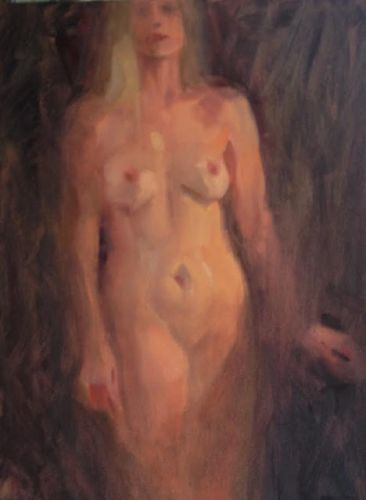 Standing Nude oil sketch on canvas by Margaret Aycock