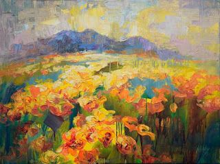 New Abstract Poppy Field Painting by Niki Gulley