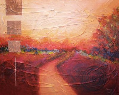"Contemporary Abstract Landscape Painting ""Road To Somewhere"" by Contemporary Arizona Artist Pat Stacy"