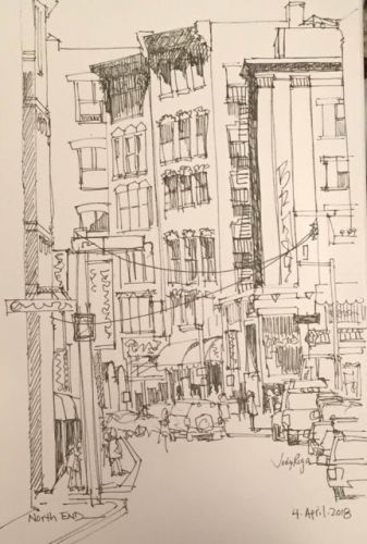 """Day 186 """"North End"""" 12 x 9 pen&ink"""