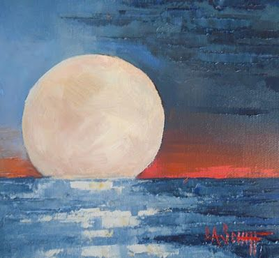 Moon Painting, Sky Painting, Daily Painting, Small Oil Painting, 8x8x1.5