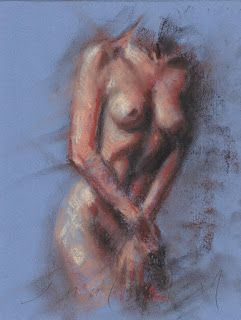 Covering female nude pastel