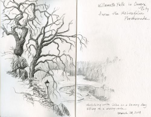 Sketching Willamette Falls from the McLoughlin Promenade