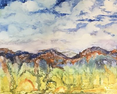 """New Mexico Landscape, Original Watercolor Painting """"Remembering Taos"""" by Contemporary Artist Lou Jordan"""