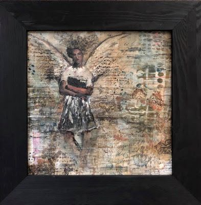 """The Guardian"", Original Mixed Media/Encaustic by Colorado Artist, Donna L. Martin and Stockholm Artist, Jenny Grant"