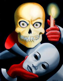 Mark Webster - Unmasked - Halloween Skull Mask Oil Painting
