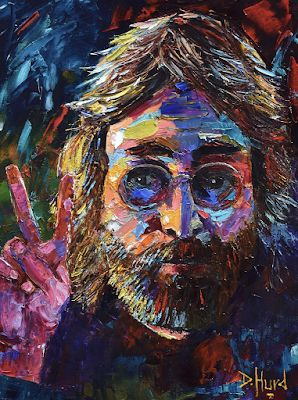 "John Lennon Portrait Painting, Abstract Portrait,Fine Art Oil Painting ""John Lennon Peace"" by Texas Artist Debra Hurd"