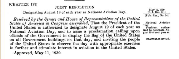 August 1939: National Aviation Day and the 30th Anniversary of Army Aviation