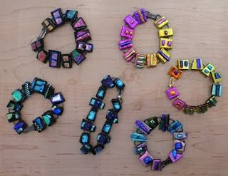 Fun new fused glass bracelets by Debbie Harary