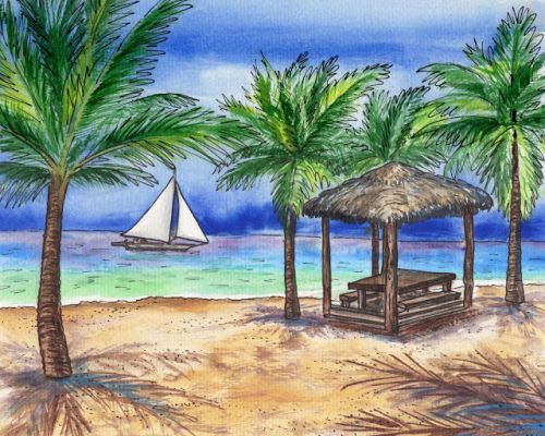 Tropical Paradise With Boat Beach Palm Trees Gazebo Painting In Watercolor