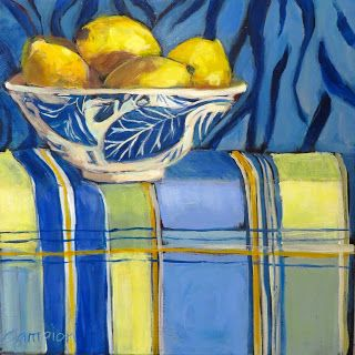 891 Lemons in a Blue and White Bowl