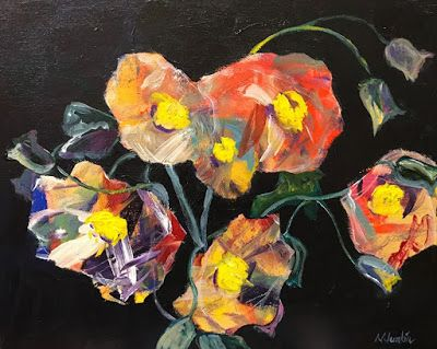 "Contemporary Expressionist Still Life Fine Art Painting ""Summer's Last Blooms"" by Oklahoma Artist Nancy Junkin"