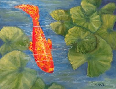 """Koi Painting,Fish, KOI """"The Scout"""" by Florida Impressionism Artist Annie St Martin"""