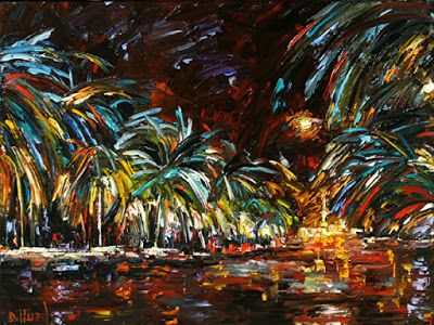 "Palette Knife Oil Painting, Fine Art For Sale ""Splash"" by Texas Artist Debra Hurd"
