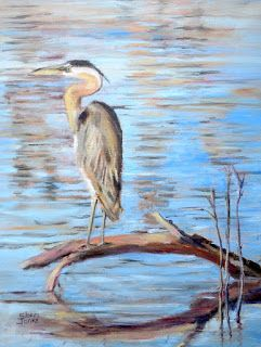 Heron Blues, New Contemporary Painting by Sheri Jones