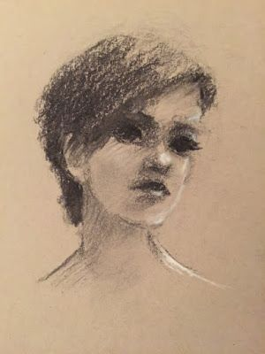 Sketch of an Actress - original charcoal portrait of a woman