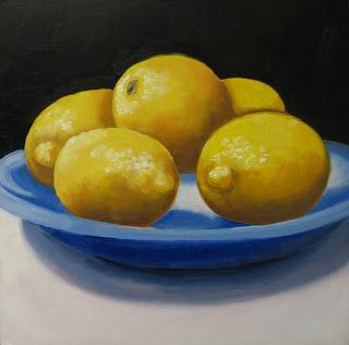 Lemons on Blue Plate