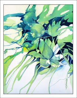 Water Patterns..Watercolor ans Fluid Acrylics..Texas Artist..Rae Andrews