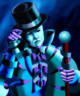 Mark Webster - Mask of the Magician - Abstract Geometric Futurist Figurative Oil Painting