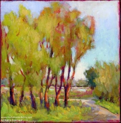 "Contemporary Landscape Painting, Small Paintings, Mixed Media, Trees, Fine Art For Sale, ""At The Ranch"" By Passionate Purposeful Painter, Holly Hunter Berry"