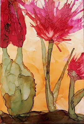 "Contemporary Still Life Floral Painting, Flower Art ""Cactus Floral in Desert Light"" by Arizona Abstract Artist Cynthia A. Berg"